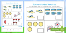 Summer Number Match-Up Activity Sheet