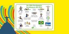 Rio Paralympics 2016 Word Mat Spanish Translation