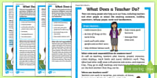 What Does a Teacher Do? Differentiated Fact File