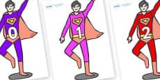 Numbers 0-31 on Superheroes (Multicolour)