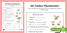 Pancake Baking Word Fill Activity Sheet