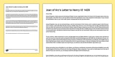 Joan of Arc's Letter to Henry VI 1429 Print Out