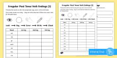 Year 2 Spelling Practice Irregular Past Tense Verb Endings (1) Go Respond Activity Sheet