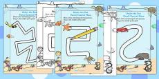 Under the Sea Pencil Control Path Activity Sheet