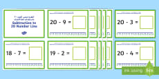 Subtraction Up to 20 with a Number Line Challenge Cards Arabic/English