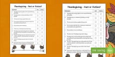 Thanksgiving Fact or Fiction Activity