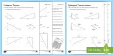 Pythagoras' Theorem Problem Solving Activity Sheet