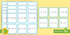 Tarjetas de emparejar: Multiplicaciones y divisiones equivalentes