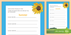 * NEW * Summer Sensory Poem Activity Sheet