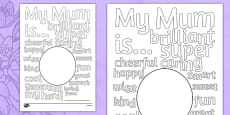 Mother's Day Describing Words Drawing and Colouring Sheet