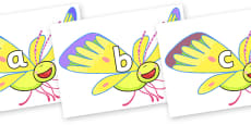 Phase 2 Phonemes on Yellow Butterfly to Support Teaching on The Crunching Munching Caterpillar