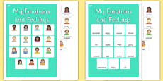 My Emotions and Feelings Vocabulary Matching Mat