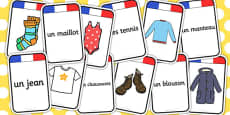 French Clothing Matching-Flashcards