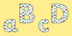 Display Lettering to Support Teaching on The Very Hungry Caterpillar