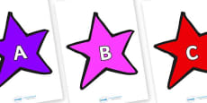 A-Z Alphabet on Stars (Multicolour)