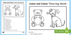 Listen and Colour Three Key Words Activity Sheet