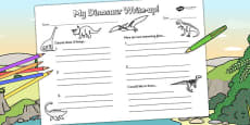 Dinosaur Write Up Activity Sheet