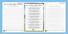 You are Old Father William Handwriting Poem Pack