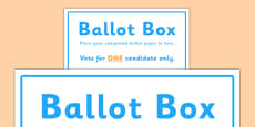 School Council Election Ballot Box Sign