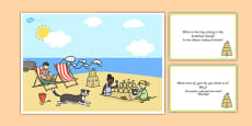 Seaside Scene and Question Cards Polish Translation