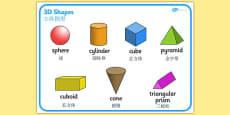 3D Shape Word Mat Chinese Mandarin Translation