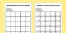 100 Square Number Sequence Challenge