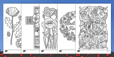 Anzac Day Poppy Themed Mindfulness Colouring Sheets