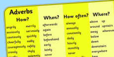 Adverb Word Mat For Visually Impaired