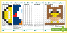 End of Year Colour by Number 100s Chart Activity Sheets
