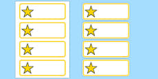 Editable Yellow Stars Drawer, Peg, Name Labels