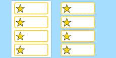 Editable Yellow Stars Drawer, Peg, Name Labels