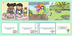 Spring Scenes and Question Cards Pack Arabic Translation