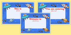 Space Themed Class Welcome Signs Arabic Translation
