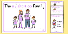 u and Short oo Sound Family Member Posters