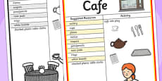 Cafe Role Play Ideas