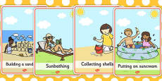 At the Seaside Movement Word Cards