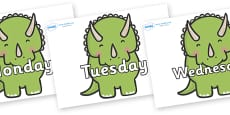 Days of the Week on Triceratops Dinosaurs