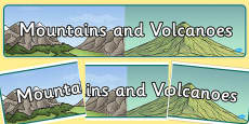 Mountains and Volcanoes Display Banner