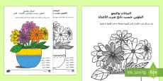 النباتات والنمو- التلوين حسب ناتج ضرب الأعداد