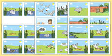 The Ugly Duckling Story Sequencing (4 per A4) Spanish / Español