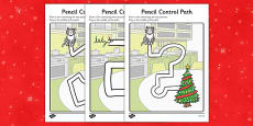 Christmas Cat Themed Pencil Control Path Activity Sheets