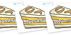 Days of the Week on Peach Desserts to Support Teaching on The Lighthouse Keeper's Lunch