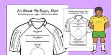 All About Me Rugby Shirt Activity Sheet Polish Translation