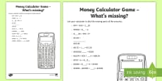 Money Calculator Game What's Missing Activity Sheet