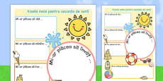 Summer Holiday Hopes Write Up Activity Sheet Romanian