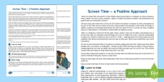Developing Positive Screen Time Habits Parent and Carer Information Sheet