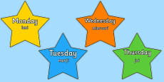Multicoloured Stars Days of the Week Romanian Translation