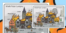 The Great Fire of London Scene Word Mat Polish