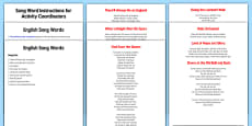Elderly Care St. George's Day Song Words Instruction Sheet and Web Links