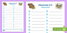 Classroom A-Z Treasure Hunt Template
